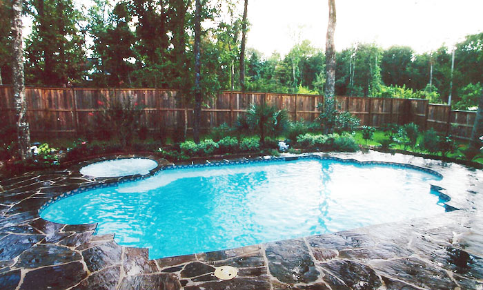 Design and build swimming pool slide waterfall spa - Swimming pools in college station tx ...